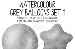 Grey Watercolor Balloon Clipart Set Product Image 3
