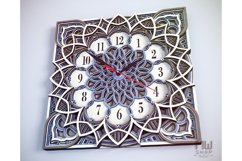 C12 - Laser Cut Wall Clock DXF, Mandala Clock, Wooden Clock Product Image 3