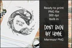 Mermaid T-shirt Design, Ocean Pollution Mermaid PNG Product Image 1