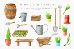 Gardening Watercolor Clipart. Spring Garden Tools PNG Set Product Image 2
