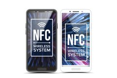 NFC Vector. Tap To Pay NFC Technology. Wireless Phone Product Image 1