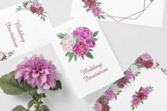 Watercolor peonies.Floral clipart.Pink,burgundy,white peony Product Image 4