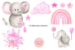 Mom and Baby elephant clipart. Watercolor cute animals Product Image 5
