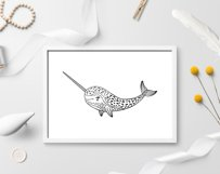 Set of handdrawn cute funny narwhals. Cartoon characters SVG Product Image 2