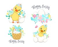Easter Clipart. Cute ducklings with eggs and flowers. Product Image 2