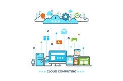 Digital cloud computing, computer data storage vector busine Product Image 1