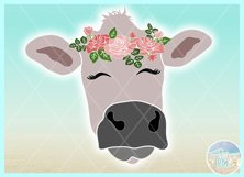 Cow Face With Roses Svg Dxf Eps Png Pdf Files Product Image 2
