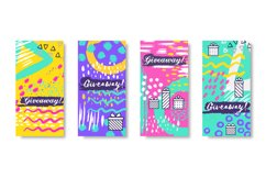 Social media banners. Giveaway fashion story frames, trendy Product Image 1