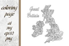 Great Britain map. Eco. Coloring page book Product Image 1