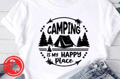 Camping is my happy place Camp tent svg Circle sign Monogram Product Image 1
