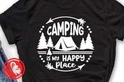 Camping is my happy place Camp tent svg Circle sign Monogram Product Image 2