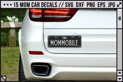 a car with a funny decal saying 'the mommobile'