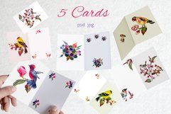 Watercolor spring birds and flowers. Product Image 2