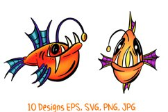 Colourful Cartoon Deep Sea Anglerfish Fish Illustrations Product Image 3