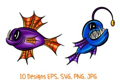 Colourful Cartoon Deep Sea Anglerfish Fish Illustrations Product Image 5