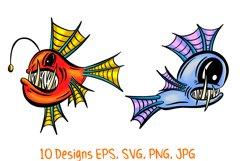 Colourful Cartoon Deep Sea Anglerfish Fish Illustrations Product Image 4