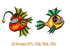 Colourful Cartoon Deep Sea Anglerfish Fish Illustrations Product Image 6