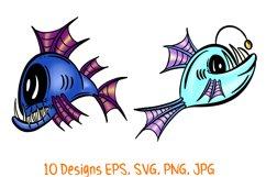 Colourful Cartoon Deep Sea Anglerfish Fish Illustrations Product Image 2