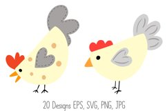 Roosters Hens Chooks Cartoon Chicken Collection SVG, PNG Product Image 2