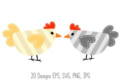 Roosters Hens Chooks Cartoon Chicken Collection SVG, PNG Product Image 5