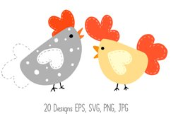 Roosters Hens Chooks Cartoon Chicken Collection SVG, PNG Product Image 4