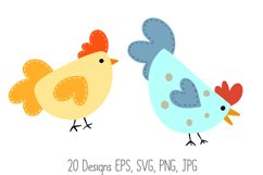 Roosters Hens Chooks Cartoon Chicken Collection SVG, PNG Product Image 6