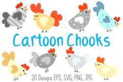 Roosters Hens Chooks Cartoon Chicken Collection SVG, PNG Product Image 1