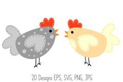 Roosters Hens Chooks Cartoon Chicken Collection SVG, PNG Product Image 3