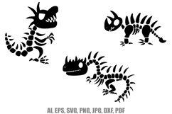 9 Cartoon Dinosaur Skeleton Illustrations SVG PNG JPG Product Image 4