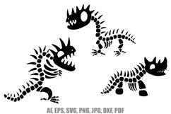 9 Cartoon Dinosaur Skeleton Illustrations SVG PNG JPG Product Image 3