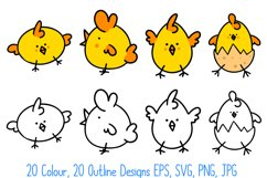 Cute Fun Easter Chicks Cartoon Collection SVG, PNG, JPG, ESP Product Image 3