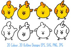 Cute Fun Easter Chicks Cartoon Collection SVG, PNG, JPG, ESP Product Image 2