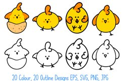 Cute Fun Easter Chicks Cartoon Collection SVG, PNG, JPG, ESP Product Image 5