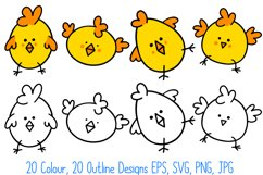 Cute Fun Easter Chicks Cartoon Collection SVG, PNG, JPG, ESP Product Image 4