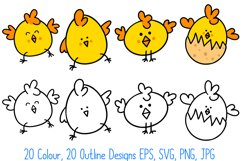 Cute Fun Easter Chicks Cartoon Collection SVG, PNG, JPG, ESP Product Image 6