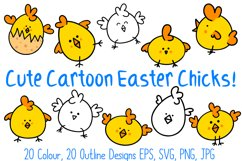 Cute Fun Easter Chicks Cartoon Collection SVG, PNG, JPG, ESP Product Image 1