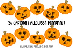 36 Halloween Funny Pumpkin Cartoon Characters SVG EPS PNG Product Image 1