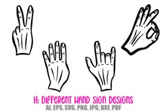 Hand Signs and Signals Icon Logo Design Cartoons Collection Product Image 5