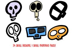 Cartoon Human Skulls Collection for Halloween and Spooky Product Image 5
