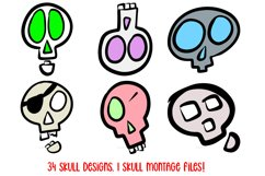 Cartoon Human Skulls Collection for Halloween and Spooky Product Image 6