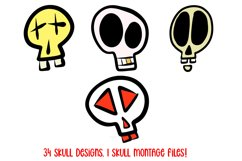 Cartoon Human Skulls Collection for Halloween and Spooky Product Image 4
