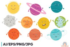 Cartoon Solar System Space Planet Clipart Graphic Product Image 1