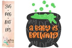 A Baby is Brewing - Halloween SVG with Witch Cauldron Product Image 2