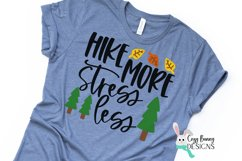 Hike More Stress Less SVG - Camping Hiking Outdoor SVG Product Image 1