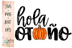 Hola Otono - Pumpkin SVG - Spanish Halloween SVG Product Image 2