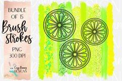 Lemon Lime Brush Strokes - Yellow, Green Bundle - Lemon SVG Product Image 1