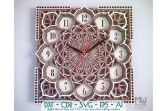 C09 - Wall Clock for Laser cut, Mandala Clock DXF pattern Product Image 1