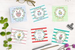 Cute birds, flowers, frames and lettering Product Image 3