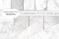 White Marble Digital Paper Pack, Grey Silver Marble Textures Product Image 1