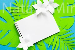 Notepad on palm tropical tree leaves from paper art. Product Image 1